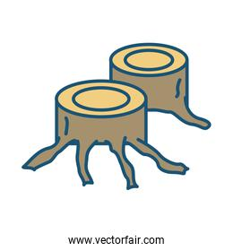 trees trunks cutting deforestation icon