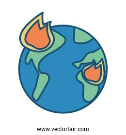 world planet earth with fire flames