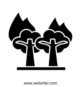 forest fire scene isolated icon