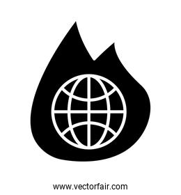 sphere planet earth with fire flame icon