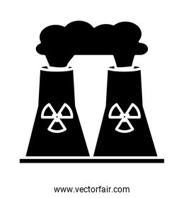 nuclear plant chimney isolated icon