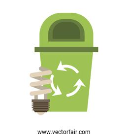 waste bin with recycle arrows and ecology bulb