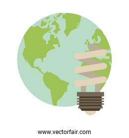 world planet earth with ecology bulb