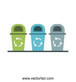 waste bins with recycle arrows