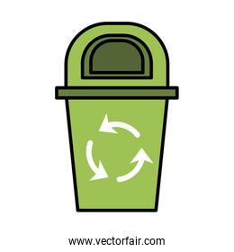 waste bin with recycle arrows