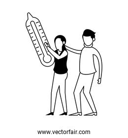 couple lifting thermometer measure characters