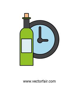 wine bottle drink with time clock
