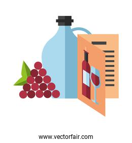 wine jar drink with grapes fruits and card menu