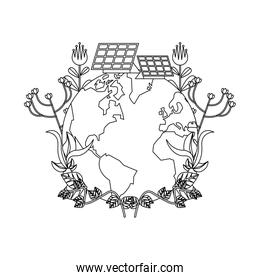 world planet earth with flowers garden and solar panels