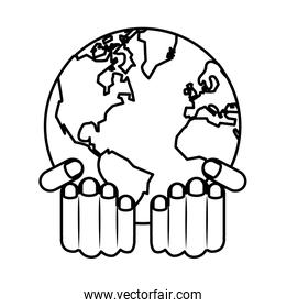 hands lifting world planet earth ecology icon
