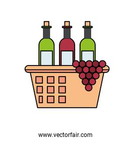 wine bottles with grapes in basket straw