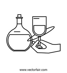 hand human lifiting wine cup drink