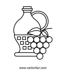 wine jar drink with grapes fruits