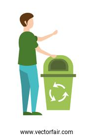 man with waste bin recycle