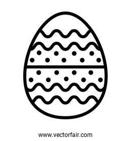 easter egg painted with bars and points line style