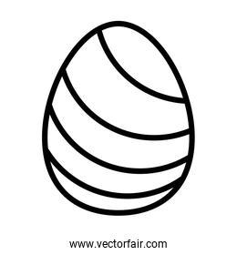 easter egg painted with stripes line style