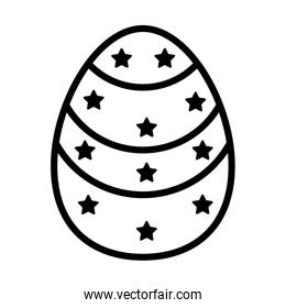 easter egg painted with stars line style