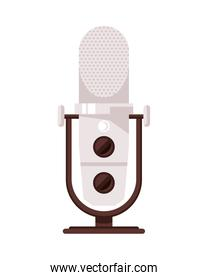 radio microphone retro isolated icon