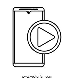 smartphone with play button media player