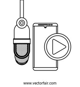 radio microphone retro with smartphone and play button