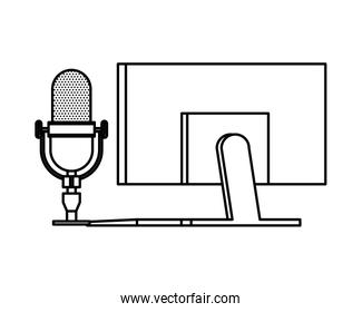 radio microphone retro with desktop