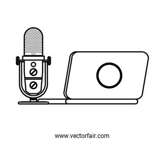 radio microphone retro with laptop