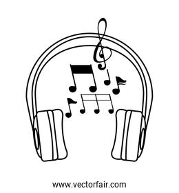 earphones audio device with music notes linear style