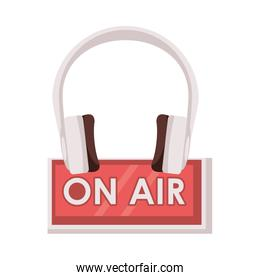 on air label with earphones