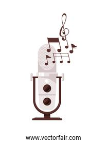 radio microphone retro with music notes