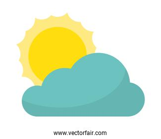 cloud with sun isolated icon