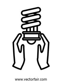 hands with ecology bulb light energy icon