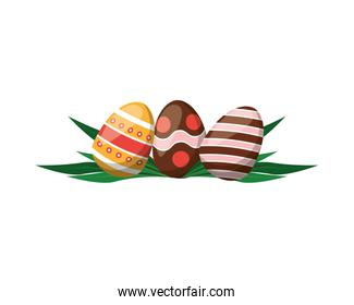 three easter eggs painted icon