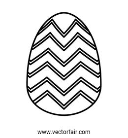 easter egg painted with geometric lines flat style