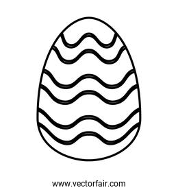 easter egg painted with waves stripes flat style