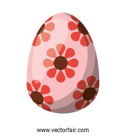 easter egg painted with flowers flat style