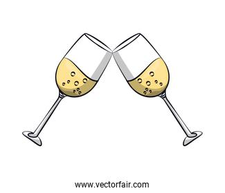champagne cups glasses toast icon