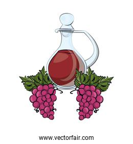 wine bottle drink with grapes fresh fruits