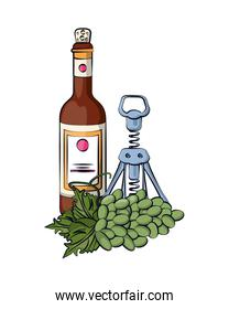 wine bottle drink with corkscrew and grapes fruits