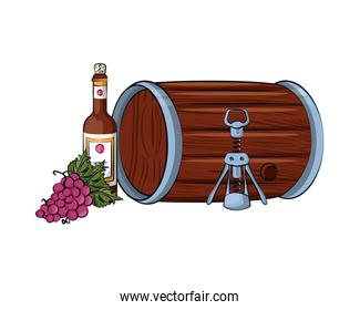 wine bottle drink with corkscrew and barrel