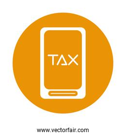 smartphone with tax obligation isolated icon