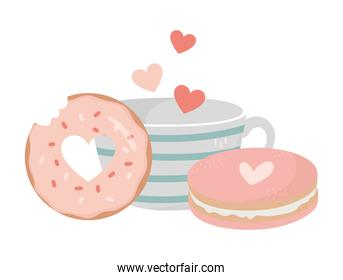 happy valentines day coffee cup cookie and donut dessert love