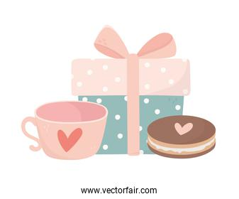 happy valentines day decorative gift box and sweet cookies love