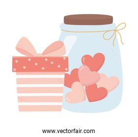 happy valentines day striped gift box and jar glass with hearts love