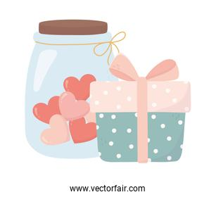 happy valentines day gift box and jar glass with hearts love