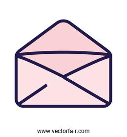 pink open envelope message courier icon