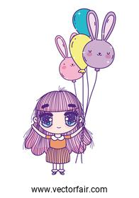 kids, little girl anime cartoon with balloons shaped rabbits
