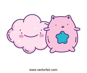 cute pink cat cartoon with blue star decoration