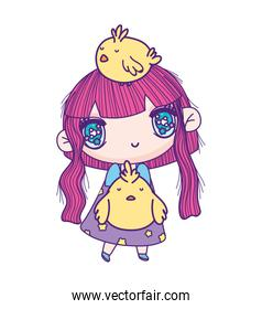 kids, little girl anime cartoon with chickens