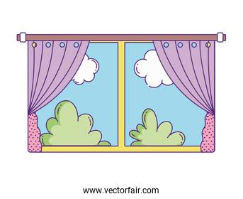 window curtains bushes nature sky clouds on white background