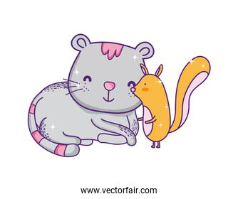pretty  little squirrel and gray cat catoon animals